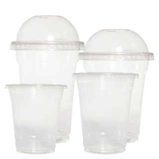 PP Recyclable Clear Plastic Smoothie Cups & Lids